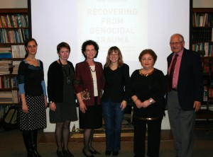 from left to right: Myriam Denov, PhD, James McGill Professor, School of Social Work, McGill University; Wendy Thomson, PhD, CBE, Director, School of Social Work, McGill University; Myra Giberovitch, MSW, Adjunct Professor, School of Social Work, McGill University; Shari Brotman, PhD, Director, Joint PhD Program, School of Social Work, McGill University; Chaia Libstug, BA, Holocaust survivor, winner 2012 Yaacov Zipper Award in Education; Frank Chalk, PhD, Director, Montreal Institute for Genocide and Human Rights Studies, Concordia University.